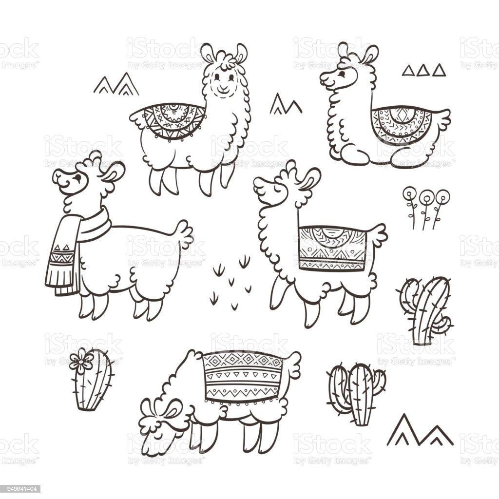 Ilustración de Llamas Lindo Contorno Ilustración De Vector De Tinta ...