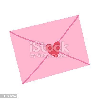istock Cute ove letter,pink envelop with heart.Vector hand drawn cartoon 1317535093