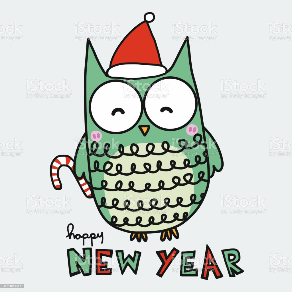Cute Owl And Red Santa Hat Happy New Year Cartoon Stock ...