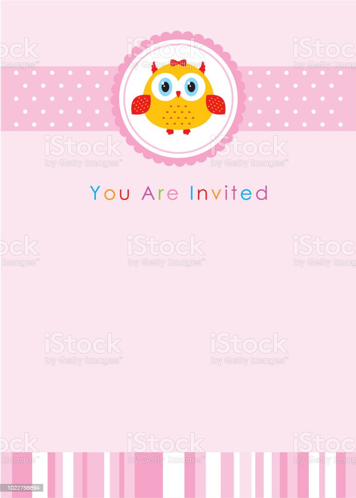 Cute Owl Baby Arrival Announcement Card Royalty Free Stock