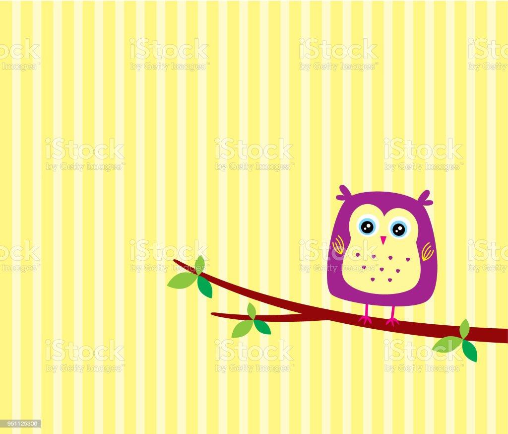 Cute Owl Cartoon Greeting Card Vector Stock Vector Art More Images