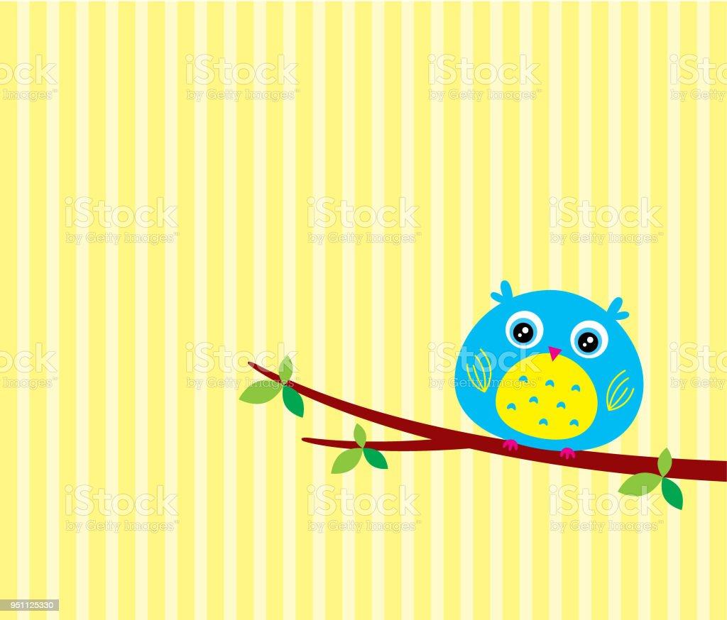 vetor de cartão coruja bonito dos desenhos animados - ilustração de arte em vetor