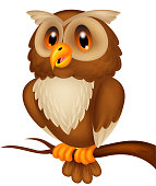 Illustration of Cute owl cartoon on the branch