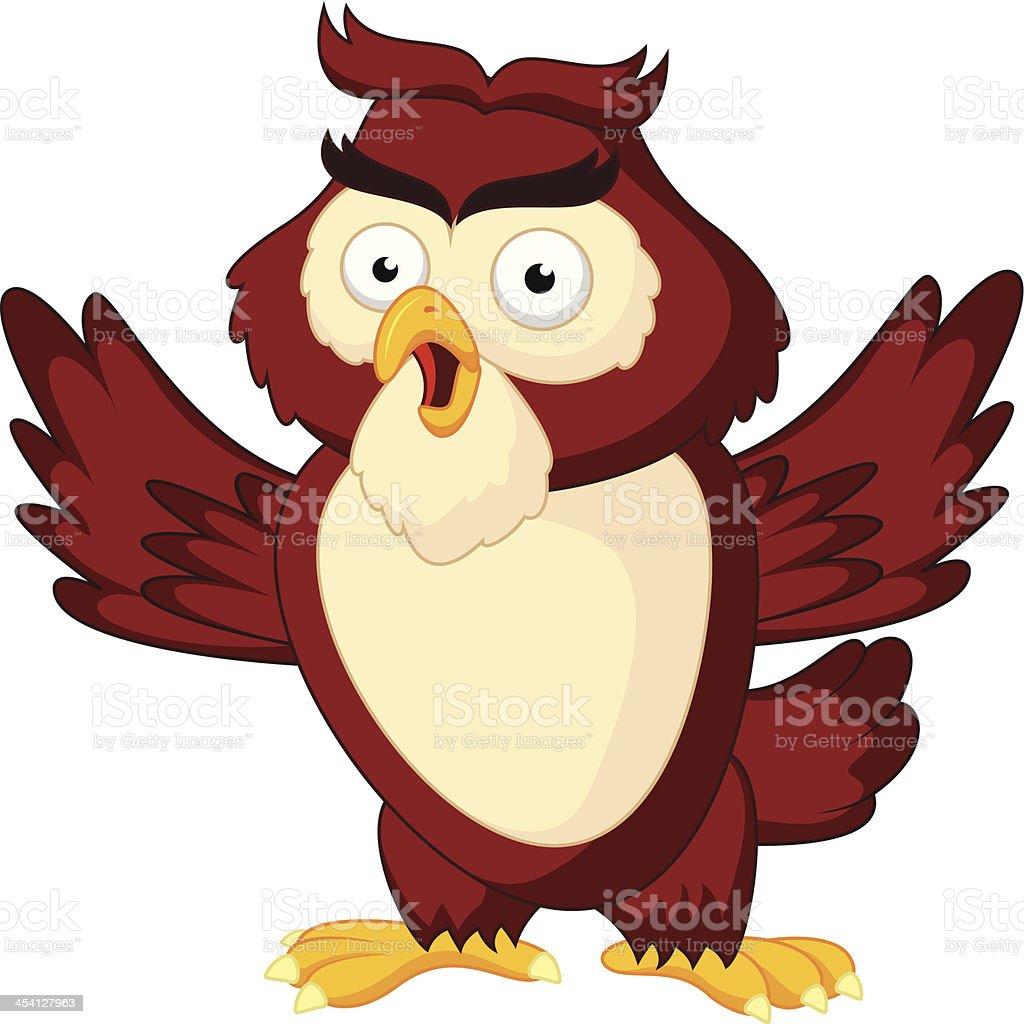 Cute owl cartoon waving wing royalty-free cute owl cartoon waving wing stock vector art & more images of animal