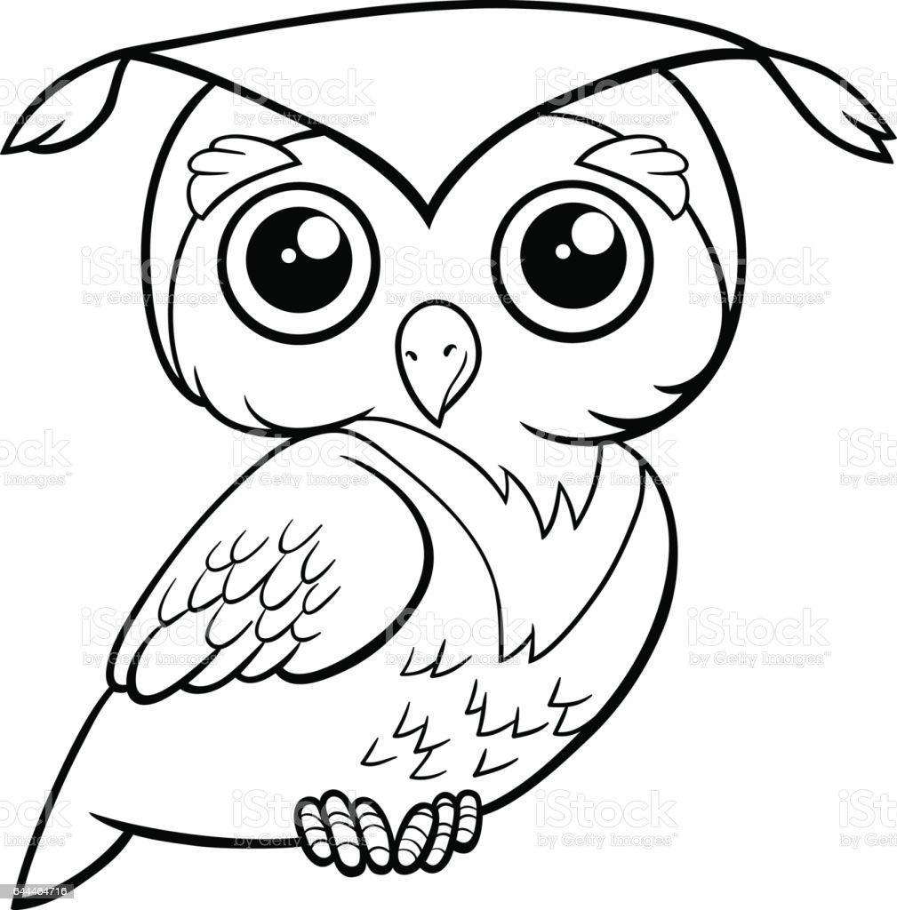 şirin Baykuş Boyama Sayfası Stok Vektör Sanatı Animasyon Karakter