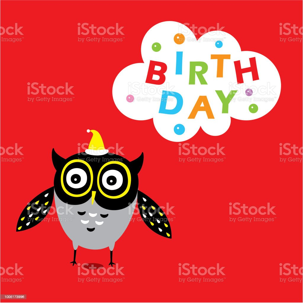 Cute Owl Happy Birthday Greeting Card Stock Vector Art More Images