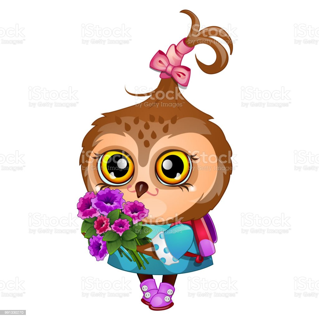Cute owl holding the wing of a bouquet of flowers isolated on white cute owl holding the wing of a bouquet of flowers isolated on white background vector izmirmasajfo