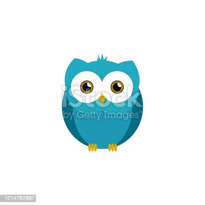 istock Cute owl illustration in vector. Flat owl illustration on white background 1214782997