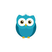 istock Cute owl illustration in vector. Flat owl illustration on white background 1214782997