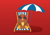 Cute owl in sunglassCute owls in sunglasses on vacation lying and relaxing on a deck chair under an umbrella. Owlet drink cocktail. Postcard on holiday. Free space for your ad or text. Vector illustration on a red backgroundes on vacation lying and relaxi