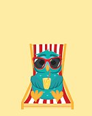 Cute owl in sunglasses on vacation lying and relaxing on a sun lounger. Owlet drinking cocktail. Postcard to the feast. Free space for your ad or text. Vector illustration.