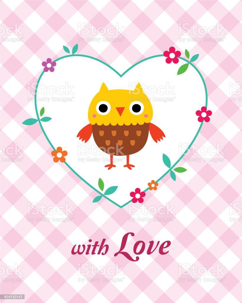 Cute Owl Love Card Vector vector art illustration