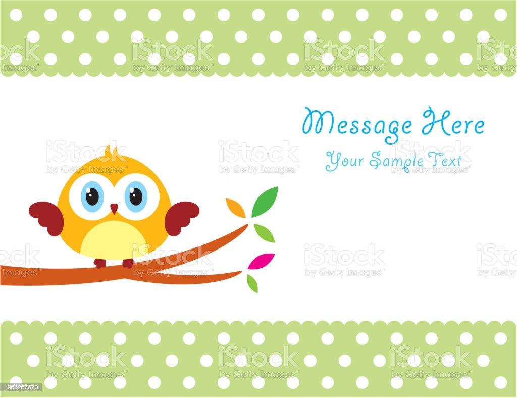 cute owl message card cute owl message card - stockowe grafiki wektorowe i więcej obrazów baby shower royalty-free