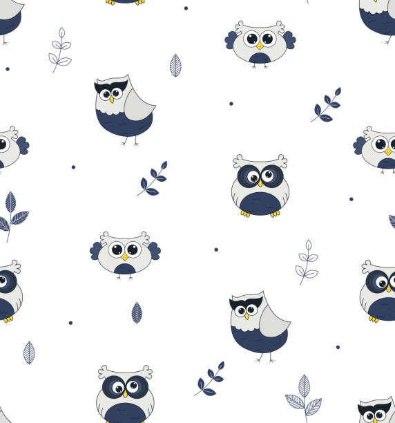Cute owl pattern illustration. Cute little birds – artystyczna grafika wektorowa
