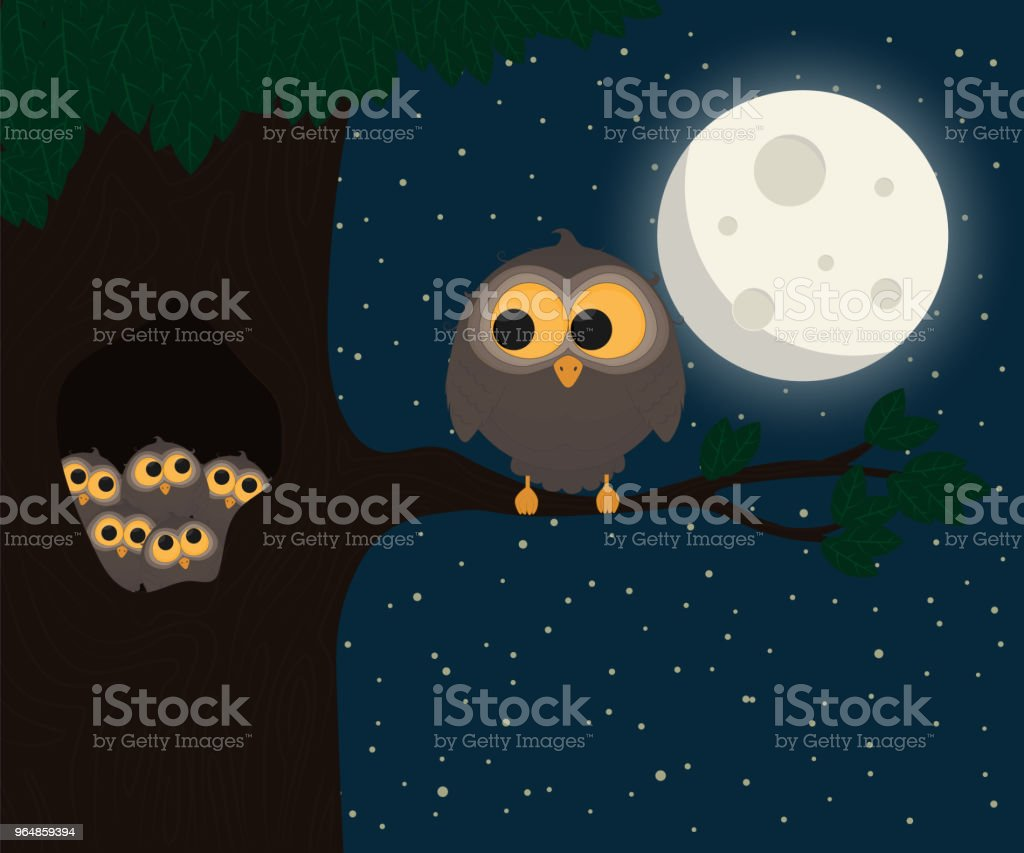cute owl sit at hollow under the moon. Vector illustration royalty-free cute owl sit at hollow under the moon vector illustration stock vector art & more images of abstract