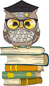 Cute owl sitting on books with graduation cap. vector illustration