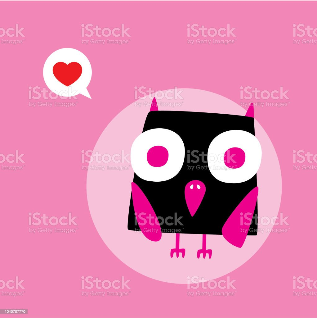 Cute Owl Valentine Card Vector Stock Vector Art More Images Of