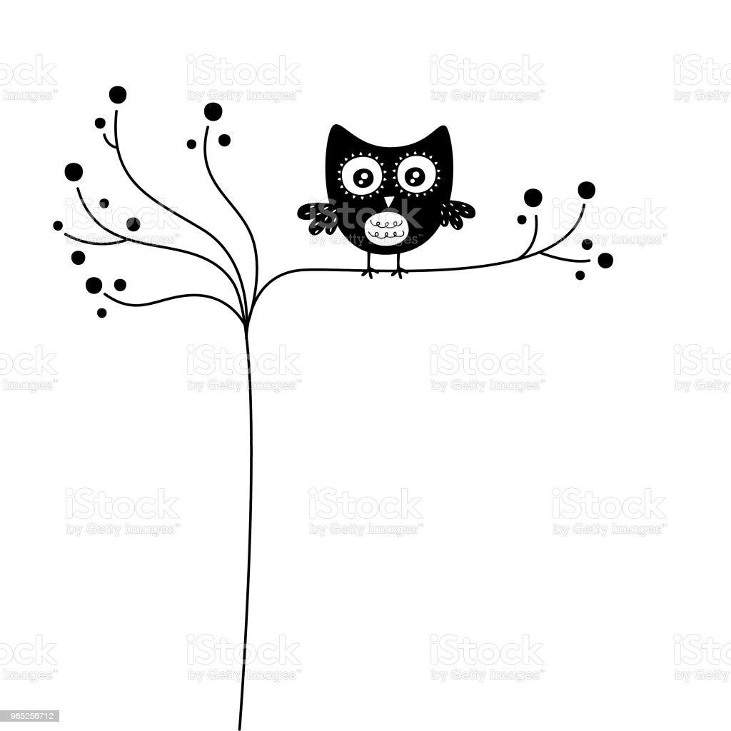 cute owl wallpaper vector cute owl wallpaper vector - stockowe grafiki wektorowe i więcej obrazów bazgroły - rysunek royalty-free