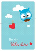 cute owl with a big red heart hanging