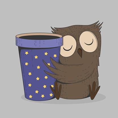 Cute owl with coffee cup. Sleeping bird, cartoon hand drawn wild animal with take away mug vector print