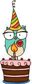 Scalable vectorial representing a cute owl with party hat and birthday cake, element for design, illustration isolated on white background.