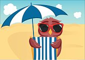 Cute owl with sunglasses on vacation lying down on the beach by the sea and relaxing on a deck chair under an umbrella. Owlet. Postcard on holiday.  Free space for your ad or text. Vector illustration.