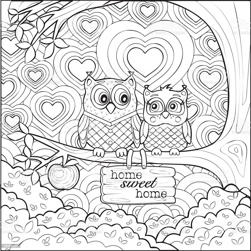 Cute Owls Art Therapy Coloring Page Stock Illustration - Download Image Now  - IStock