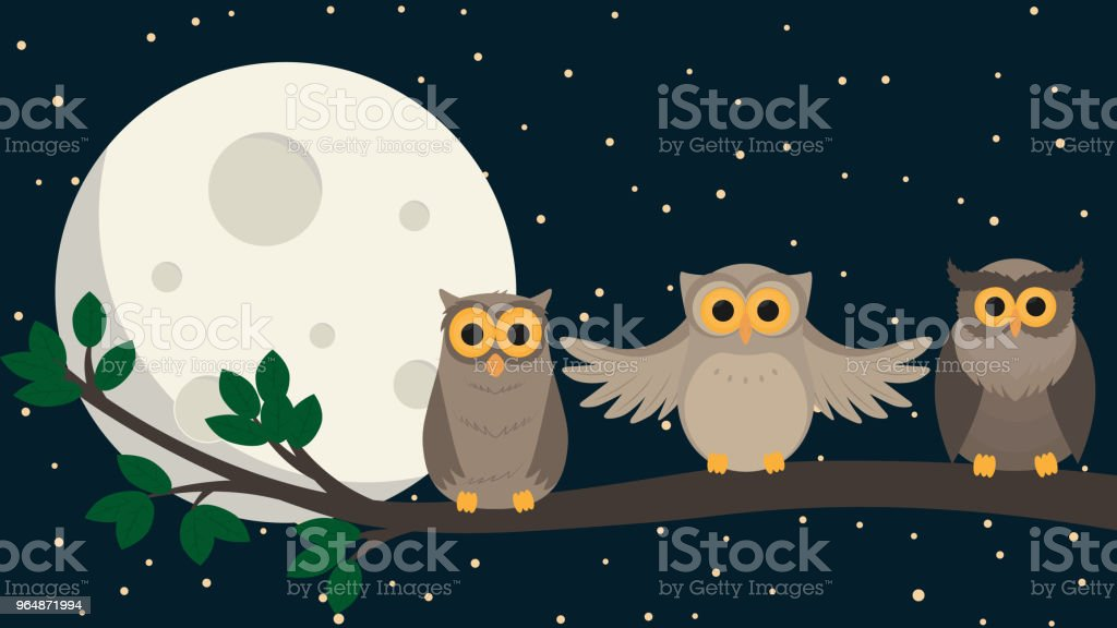 cute owls sit at branch under the moon. Vector illustration royalty-free cute owls sit at branch under the moon vector illustration stock vector art & more images of animal