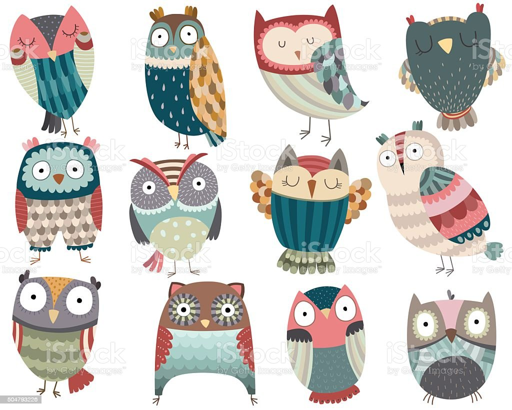 Cute Owls vector art illustration