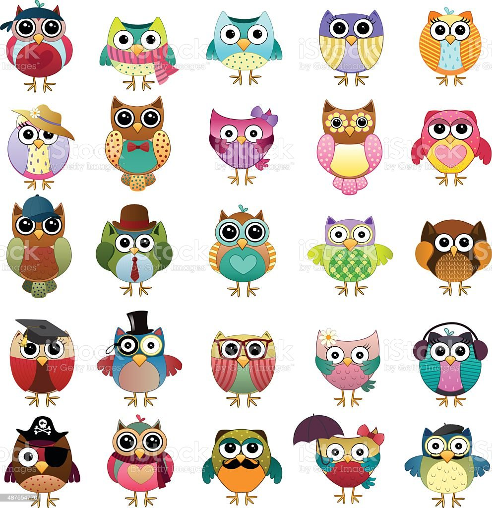 Cute Owls Vector Set vector art illustration