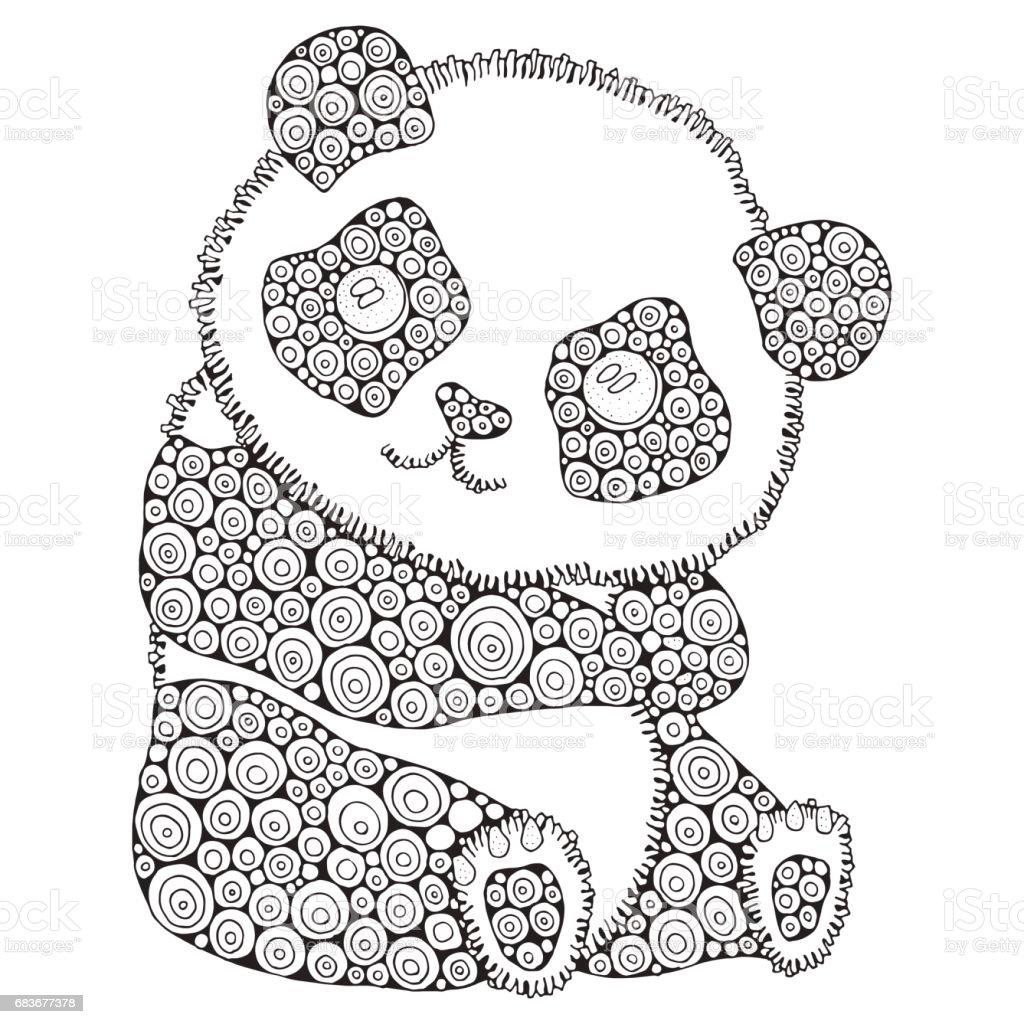 Sevimli Panda Yetişkin Antistress Kitap Sayfa Boyama Siyah Ve Beyaz