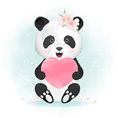 Cute panda and heart hand drawn animal illustration watercolor background