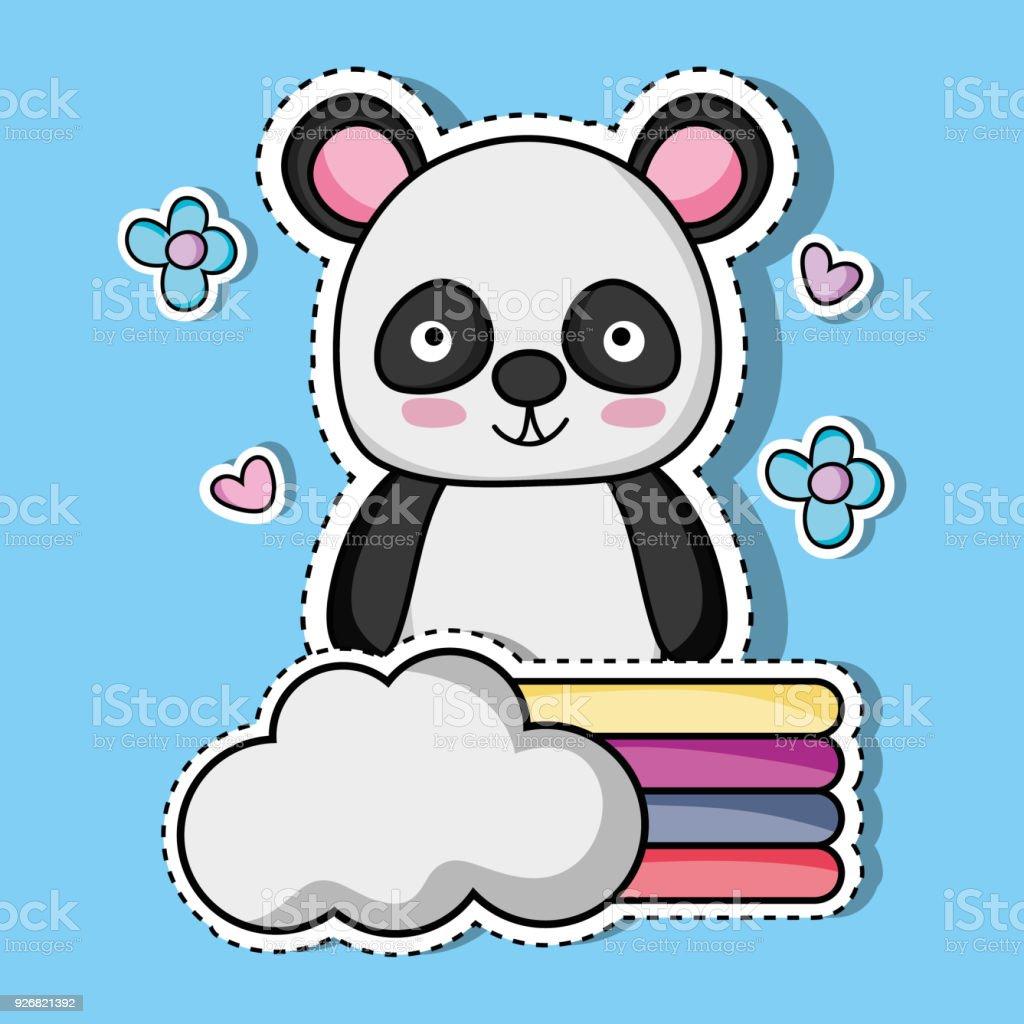 cute panda animal patch sticker векторная иллюстрация