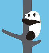 cute panda baby climbing the tree, vector illustrator