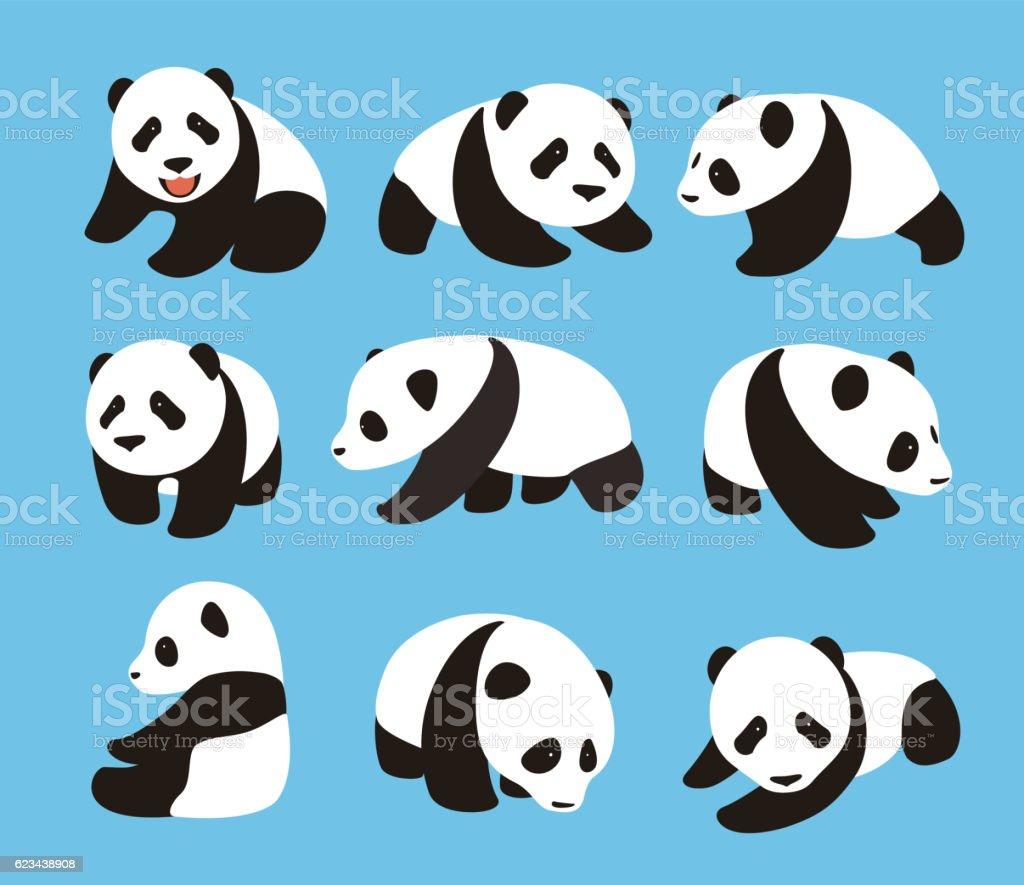 Cute Panda Baby Set Flat Design Vector Illustrator Stock Vektor Art