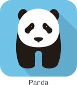 cute panda baby walking, flat design, vector illustrator