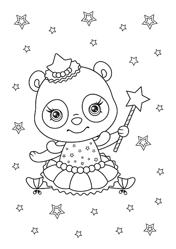 Cute Panda Ballerina Coloring Page