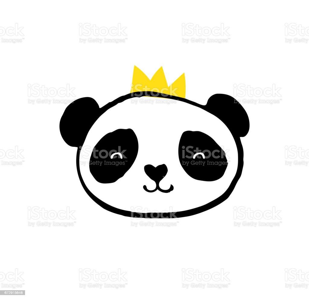 Cute Panda bear black and white illustrations vector art illustration
