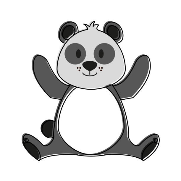 귀여운 판다 곰 만화 - 강아지 실루엣 stock illustrations