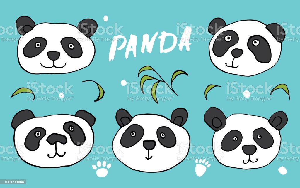Cute Panda Bear Doodles Set Cute Animals Sketch Hand Drawn Cartoon Vector Illustration Stock Illustration Download Image Now Istock