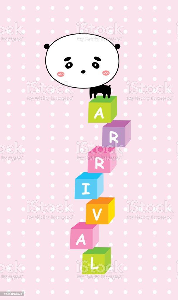 Cute Panda Bear Happy Birthday Greeting Card Vector Stock Vector Art