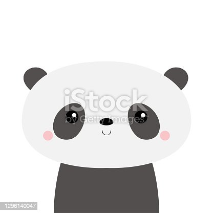 Cute panda bear. Kawaii cartoon character. Funny head face. Pink cheeks. Happy Valentines Day. Baby greeting card template. Notebook cover, tshirt. White background. Flat design.
