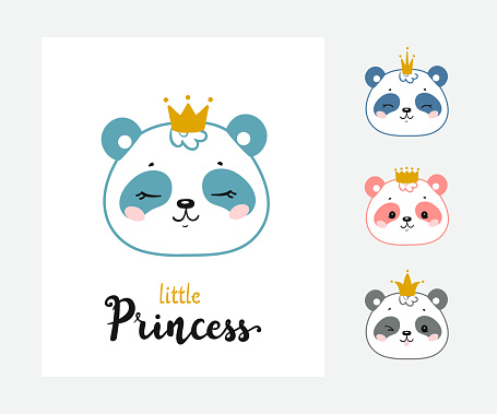 Cute Panda Bear Princess Vector Set. Baby Chinese Bear Face with Crown and Little Princess quote Poster for Kids