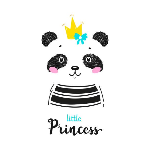 王冠と「リトルプリンセス」引用符ベクトルイラストとかわいいパンダクマ。黒と白のチャイニーズベア。かわいい動物tシャツプリント、ベビーシャワーカード、託児ポスター、誕生日 - 花のボーダー点のイラスト素材/クリップアート素材/マンガ素材/アイコン素材