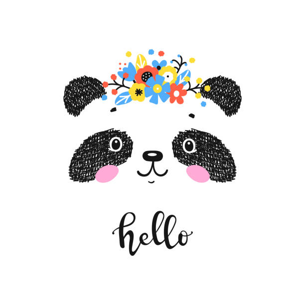 Cute Panda Bear with Floral Wreath and