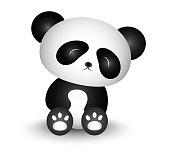 Cute Panda Cartoon - black and white
