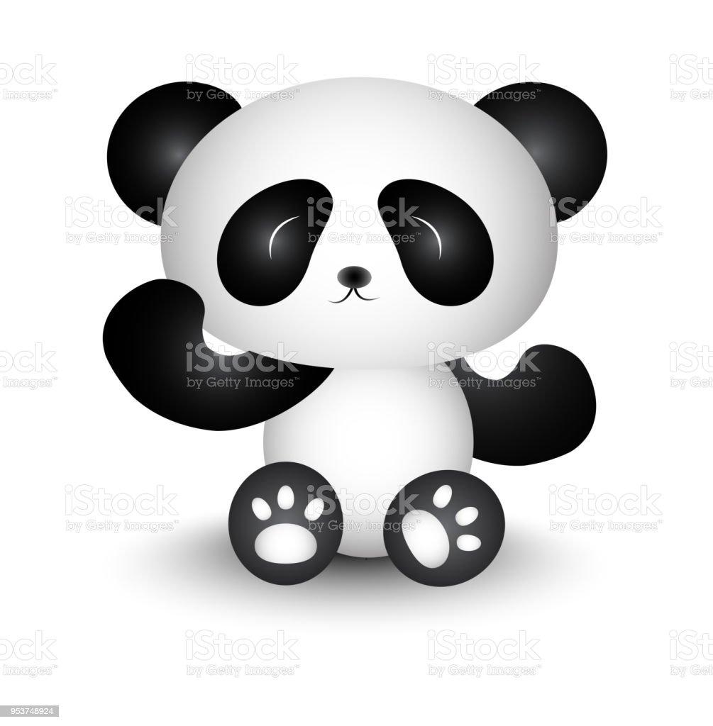 Ilustración De Panda De Dibujos Animados Lindo Blanco Y Negro Y Más