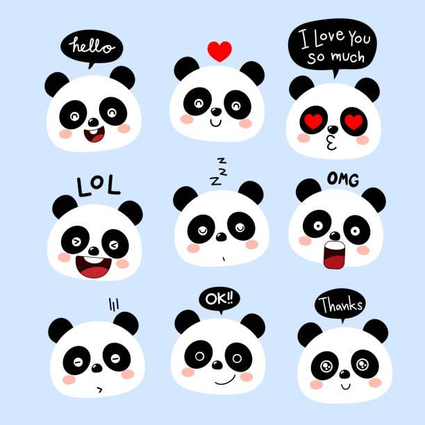 cute panda cartoon character with bubble speech. face of animal wildlife. vector - kiss stock illustrations