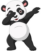 Vector illustration of Cute panda cartoon in dabbing pose