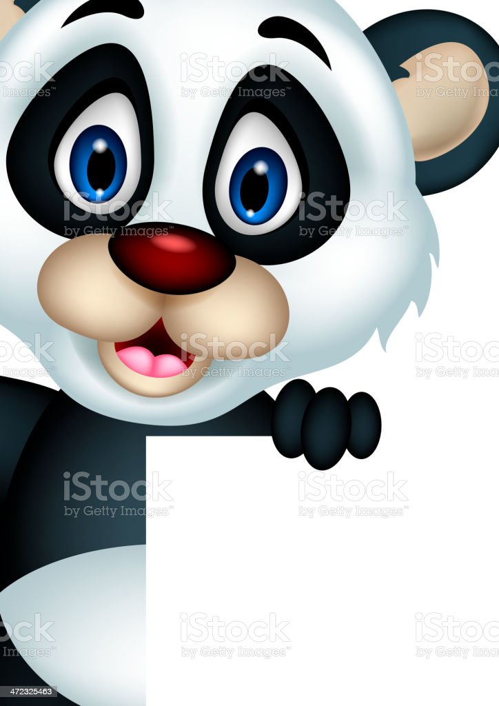 cute panda cartoon posing with blank sign royalty-free cute panda cartoon posing with blank sign stock vector art & more images of animal